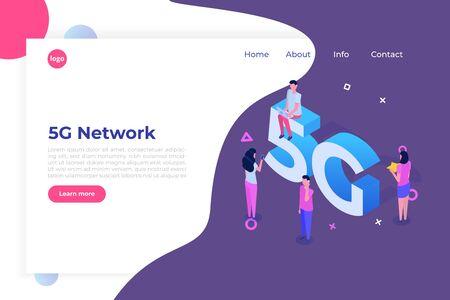 5G network wireless systems, High-speed mobile Internet isometric concept. Vector illustration Ilustração