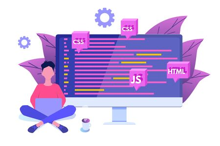 Software Development, Programmer at work. Big data processing. Vector illustration.