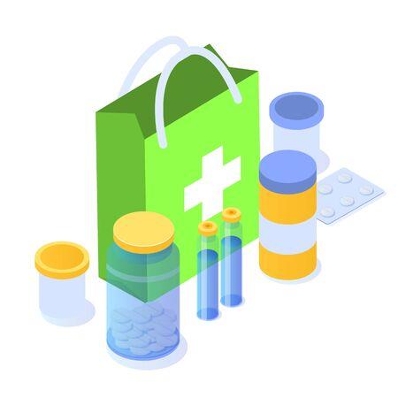 Pharmacy concept. Medicine icon flat isometric vector illustration