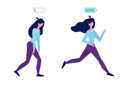 Full of energy and tired businesswoman with full charge and uncharged battery flat style concept.  Vector illustration Ilustrace