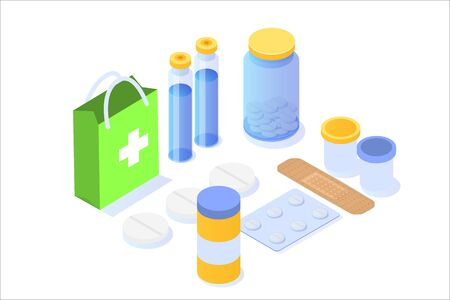 Medicine  bottle,  tablets, pills and blister package isometric icon. Vector illustration