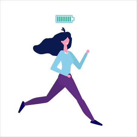 Full of energy businesswoman with full charge flat style concept.  Vector illustration