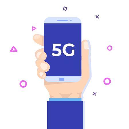 Hand Holding phone with 5G network wireless.  High-speed mobile Internet. Vector illustration Ilustração
