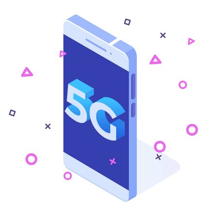 5G network wireless systems, High-speed mobile Internet isometric concept. Vector illustration Çizim