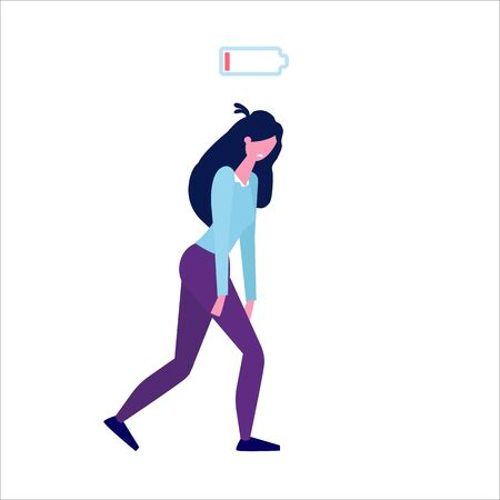 Low of energy and tired businesswoman with uncharged battery flat style concept. Vector illustration