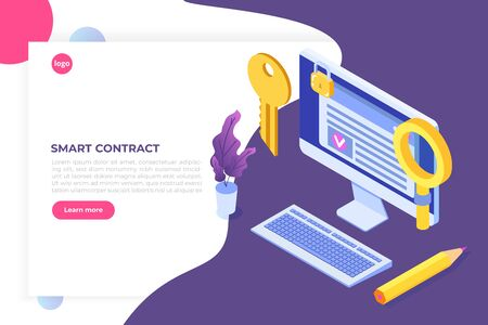 Smart contract, Digital signature isometric concept. Blockchain technology. Vector illustration Çizim