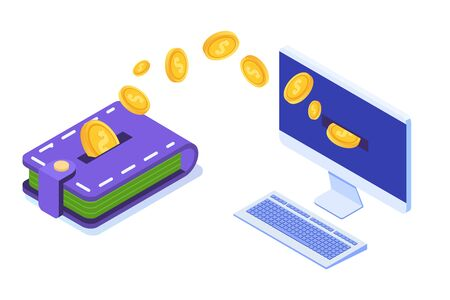 Money transfer from wallet to PC. Isometric vector illustration. Vector Illustration