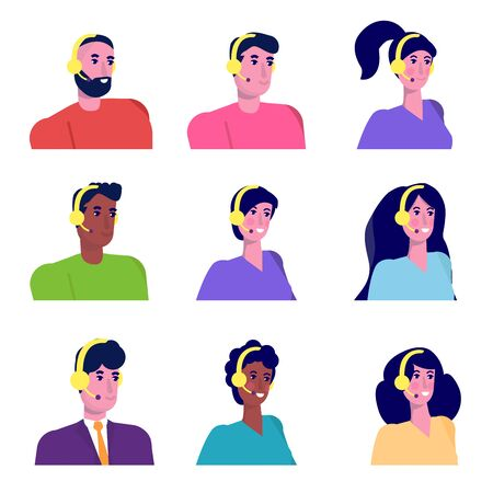 Help desk, Call center consultants  avatars. Customer Care concept. Live chat operators. Online customer support service assistants. Vector illustration