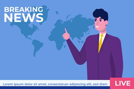 Breaking news concept with character. TV news studio with broadcaster. Vector illustration