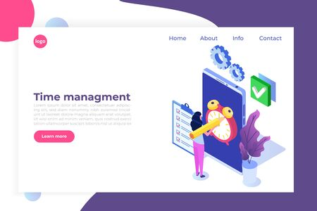 Time management cncept,  Business scheduling app. Flat isometric vector illustration.