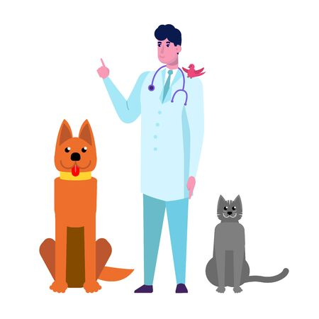 Profession veterinarian doctor character and animal. Flat style vector illustration.