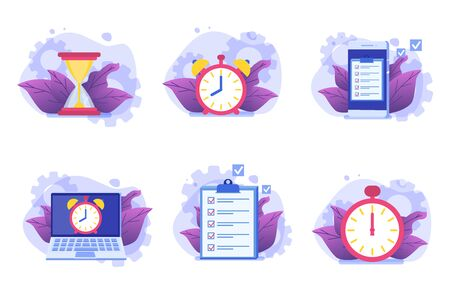 Time management icon set,  Business scheduling app. Flat vector illustration.