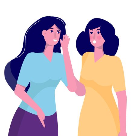 Secret, gossiping surprised concept. Young woman whispering to her friend.  Vector illustartion.