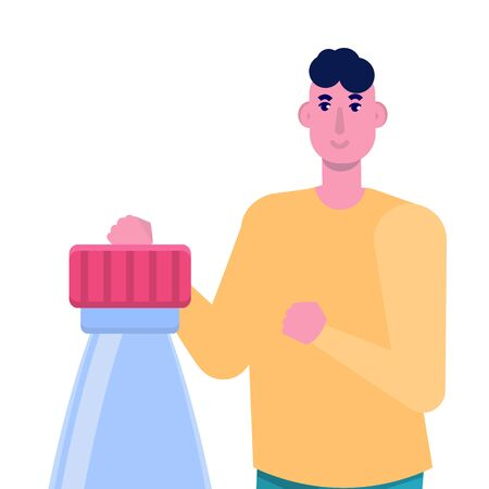 Bottle cap challenge. Vector flat style illustration Stock Illustratie