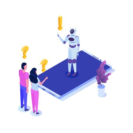 Chat bot, artificial intelligence isometric. Business AI and  IOT concept. Vector illustration.