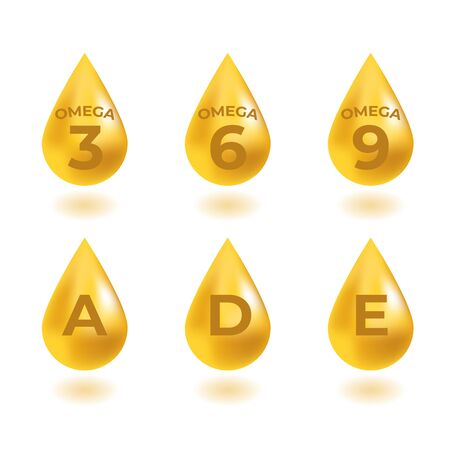 Omega 3, 6, 9 acids and vitaminsA, D, E drops gold icon. Polyunsaturated fatty.  Nutrition skin care design and Beauty treatment. Vector illustration. Banque d'images - 132287529