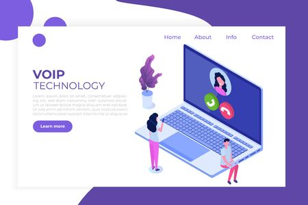 Voice over IP,  IP telephony  VoIP technology isometric concept. Vector illustration. Иллюстрация