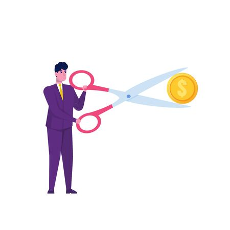 Businessman cut dollar coin.  Sale,Discounts symbol. Cost reduction or cut price. Vector illustration.