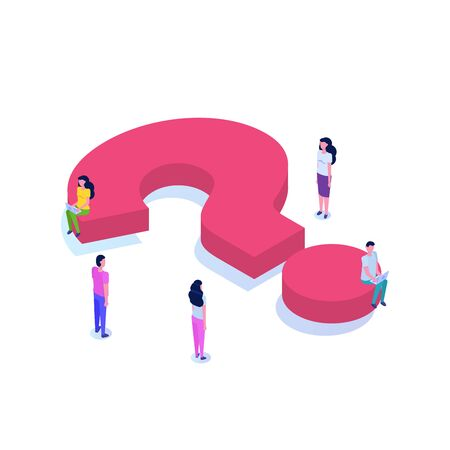 Question isometric icon with character concept .  Social media illustration.