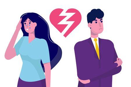 Divorce, break up relationship concept flat vector illustration.