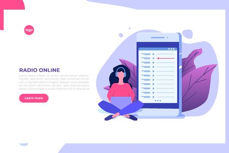 Internet online radio streaming, music applications,  playlist online podcast concept. Vector illustration.