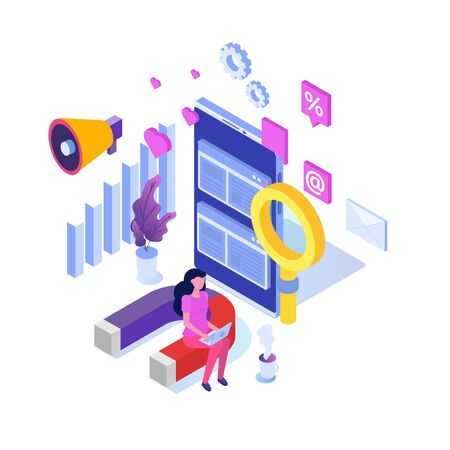 Social media manager isometric concept. Flat style vector illustration.