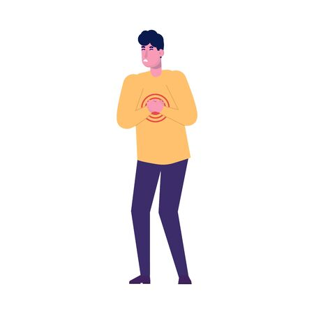 Pain in the chest. Young man with strong heart attack. Flat style vector illustration.