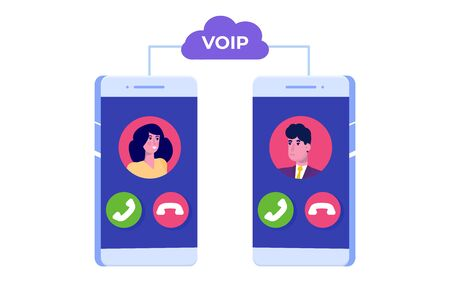 Voice over IP, IP telephony VoIP technology concept. Vector illustration.