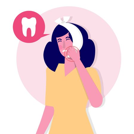 Toothache. Caries. Severe pain in the teeth. Vector illustration  イラスト・ベクター素材