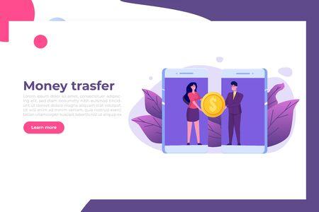 Money transfer from smartphone to smartphone. Isometric vector illustration. Vector Illustration