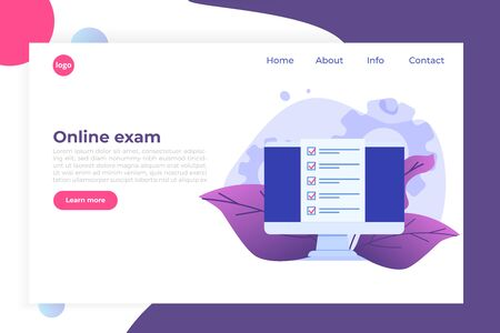 Checkboxes on computer screen. Online exam, internet quiz concept. Vector illustration