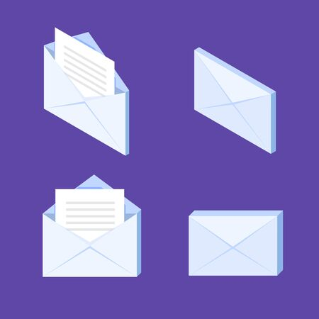 Close and open envelopes isometric icon. Vector illustration. Stock Illustratie