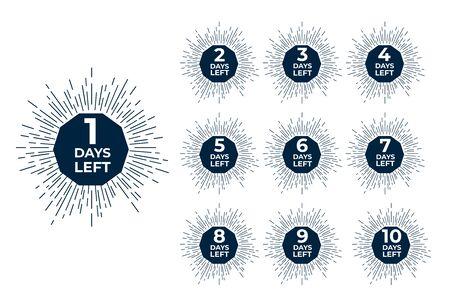 Days left badges. Sale offer shopping day countdown. Vector illustration.  イラスト・ベクター素材