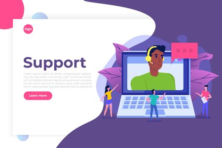 Help desk, Call center consultants  avatar. Customer Care concept. Live chat operator. Online customer support service assistant. Vector illustration