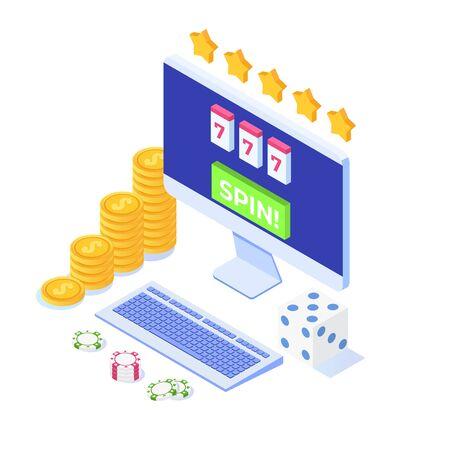 Online casino, online gambling, gaming apps  isometric vector illustration