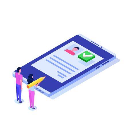 Voting online, e-voting, election internet system isometric concept. Vector illustration Vecteurs