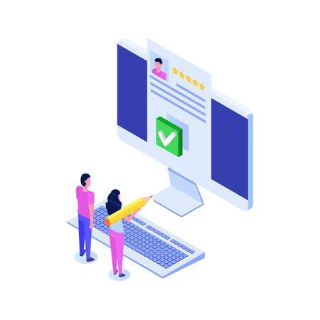 Votación en línea, votación electrónica, concepto isométrico del sistema de internet electoral. Ilustración vectorial