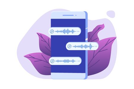 Voice Messages , event notification. Vector illustration flat style.