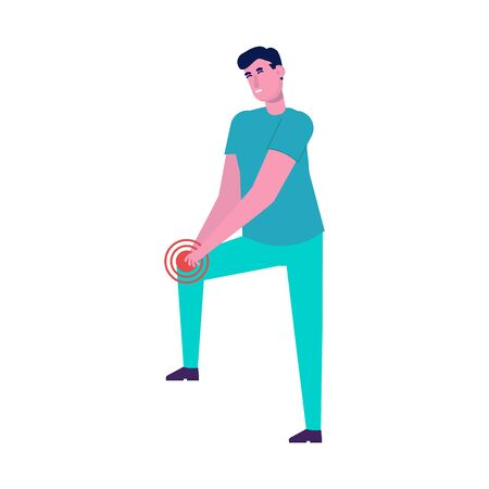 Pain in the legs, knee problems.  Flat style vector illustration.