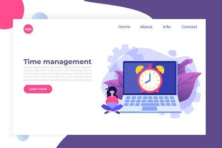Time management concept, Business scheduling app. Flat vector illustration. Vetores
