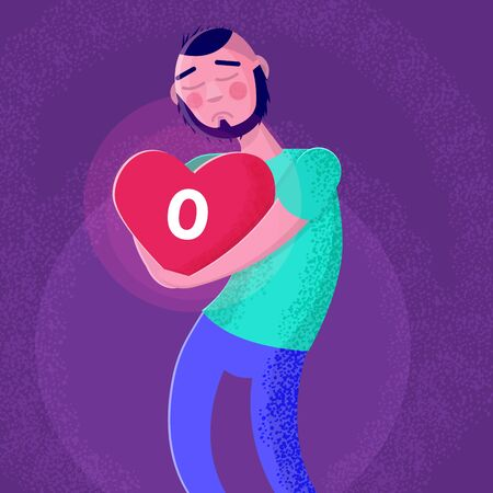 Sad man holding heart with no message sign. Loneliness concept. Vector illustration Illustration