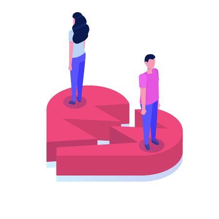 Divorce, break up relationship concept isometric vector illustration. Ilustração