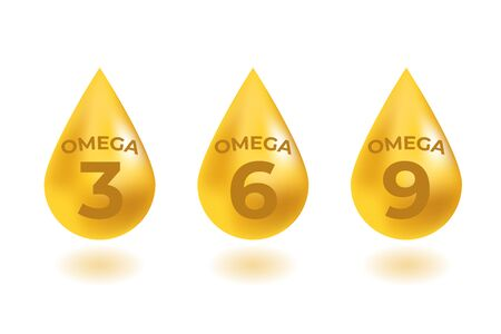 Omega 3, 6, 9 acids drops gold icon. Polyunsaturated fatty. Nutrition skin care design and