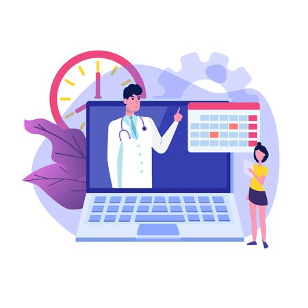 Online doctor vector  concept,  patient consultation, doctor appointment. Vector illustration in flat style.