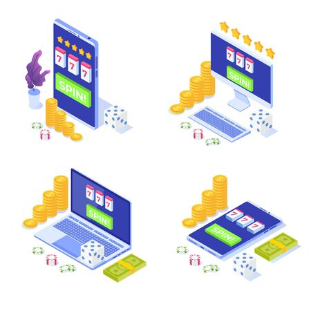 Online casino icons set, online gambling, gaming apps  isometric vector illustration
