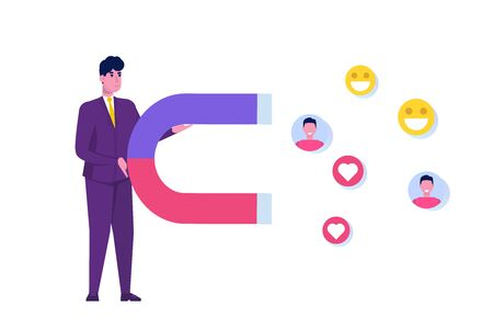 Influencer  digital marketing concept,  engaging with followers, social campaign. Vector illustration.