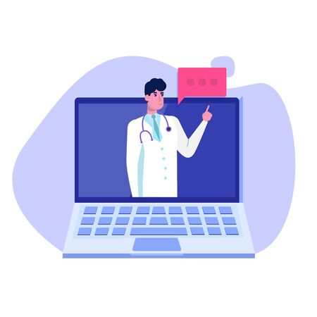 Medical service,  app page screen. Doctor online concept. Vector illustration.