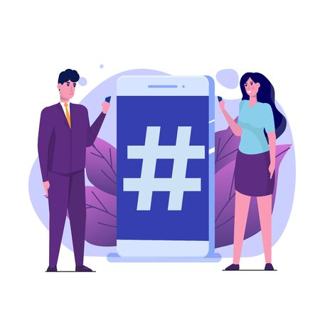 Social media flat style concept with characters.  Vector illustration. Illusztráció