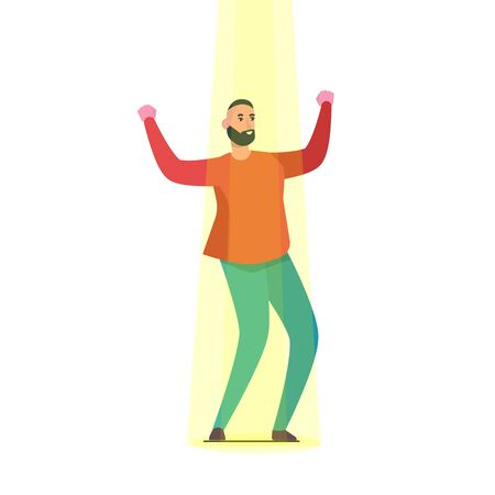 Talents searching, Hiring staff, Job search and career concept. Businessman in spotlight Vector illustration.