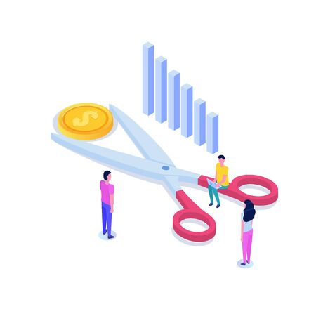 Scissors cutting dollar coin isometric concept.  Sale, Discounts symbol. Cost reduction or cut price. Vector illustration.